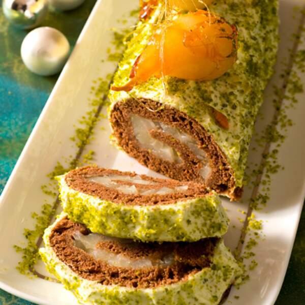 Menu végétarien - Bûche aux poires et pistaches