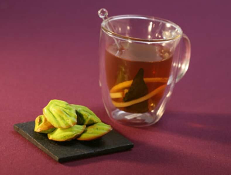 Madeleines au thé matcha, thé citron verveine