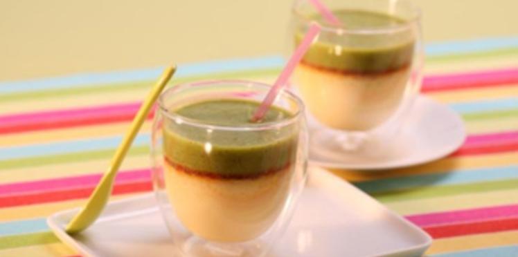 Petit pot à la vanille et orange, smoothie kiwi, concombre, pomme verte