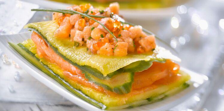Lasagnes au saumon, ananas et concombre