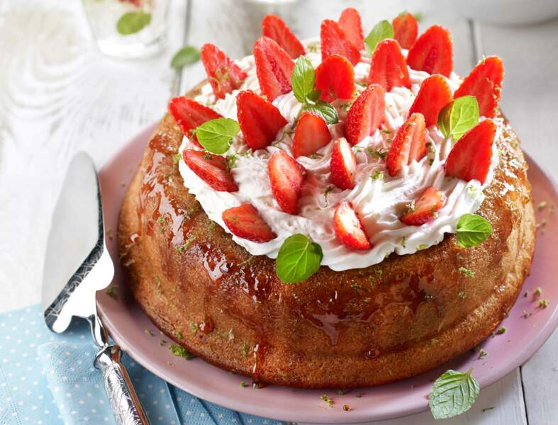 Savarin aux fraises et parfum mojito