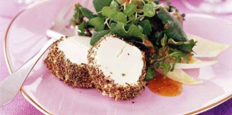 Salade de chèvre chaud aux herbes sur lit de roquette aux noix