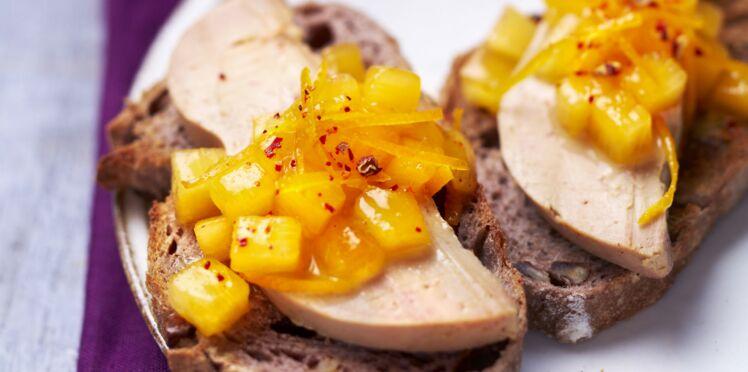 Tartines au foie gras et kaki