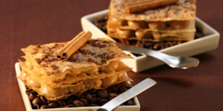 Millefeuille croustillant café et cannelle