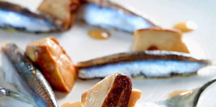 Anchois frais de Méditerranée farcis et escalope de foie gras poêlée