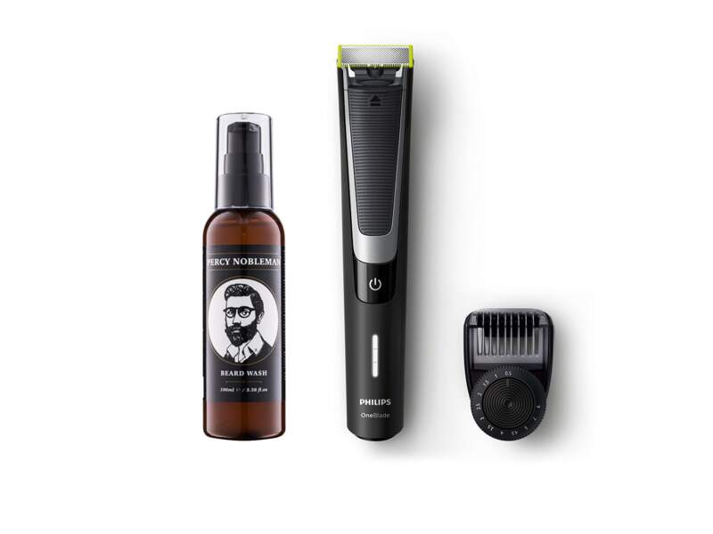 Tondeuse One Blade Pro + Huile à Barbe Percy Nobleman, Philips, prix indicatif : 89,99 €