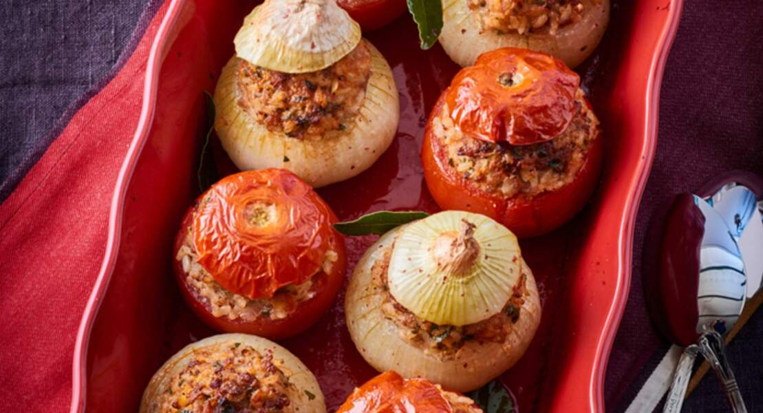 Tomates et oignons farcis au riz