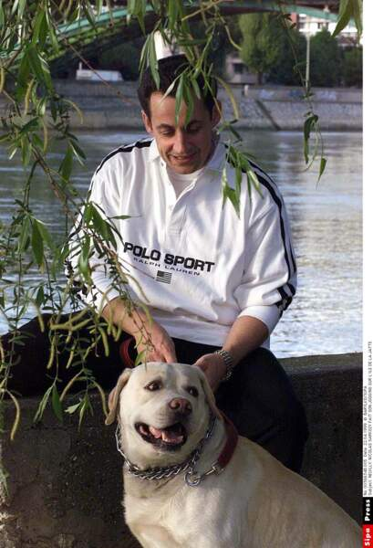 Nicolas Sarkozy avec Clara sur l'Ile de la Jatte en 1999