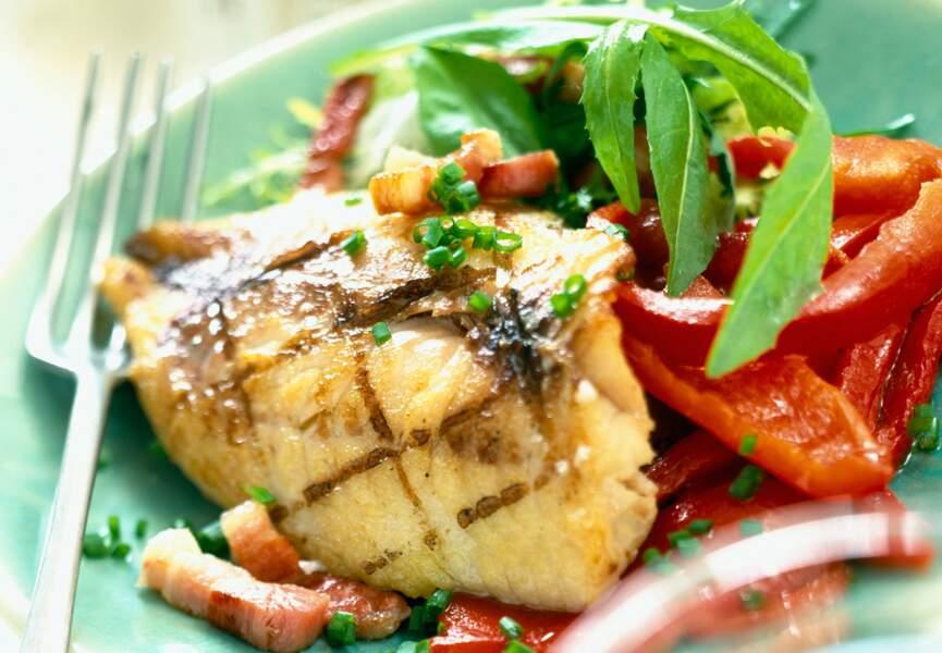 Filets de poisson sauce lardons