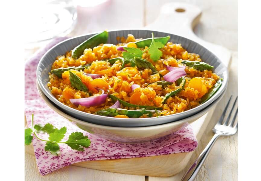 Riz de konjac façon risotto carottes-curry