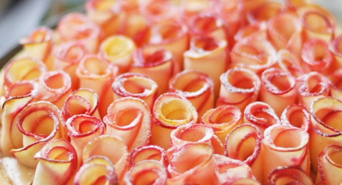 Tarte aux pommes en forme de rose