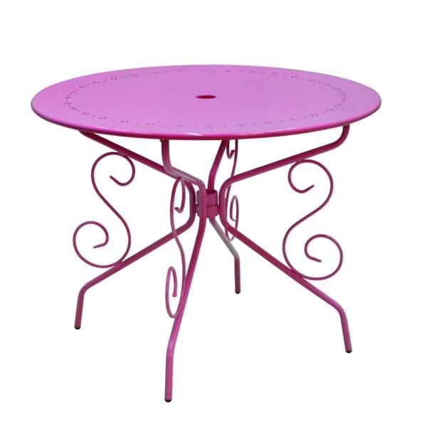 Une table fleur bleue