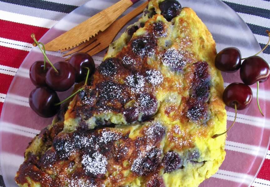 Omelette aux cerises poêlées