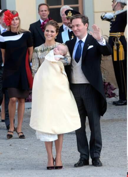 Le prince Nicolas de Suède avec ses parents, la princesse Madeleine et son mari Christopher O'Neill