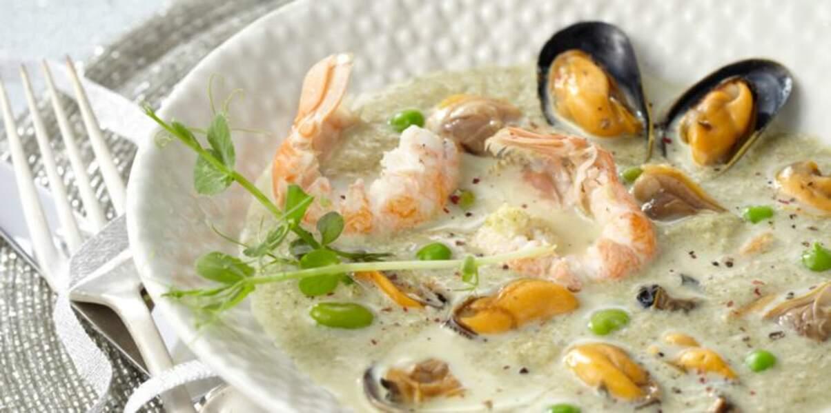 Soupe verte aux langoustines