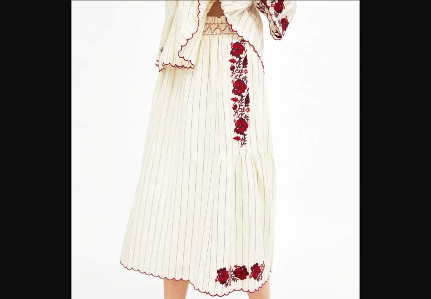 Nouveautés Zara: la jupe brodée