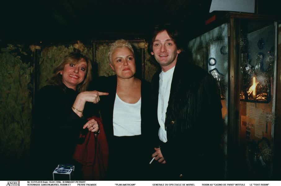 Véronique Sanson et Pierre Palmade à la générale de Muriel Robin au Casino de Paris le 16 janvier 1996.