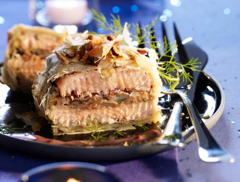 Strudel de saumon aux cèpes et foies gras