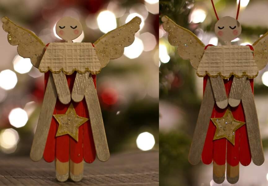 Un ange avec des bâtonnets de bois
