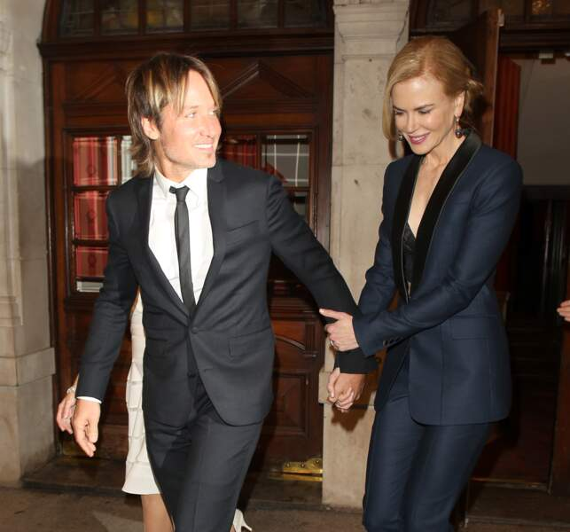 Nicole Kidman et Keith Urban sortant du théâtre à Londres le 14 septembre 2015.
