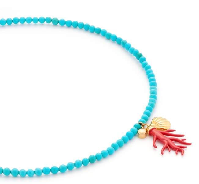 Collier : turquoise et corail