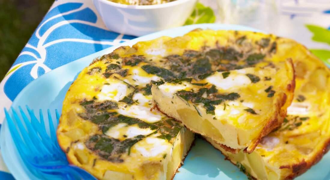 Tortilla chèvre et épinards
