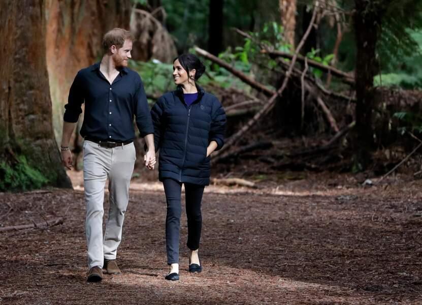 Le prince Harry et Meghan Markle visitent le site Redwoods Tree Walk à Rotorua, Nouvelle Zélande le 31 octobre 2018