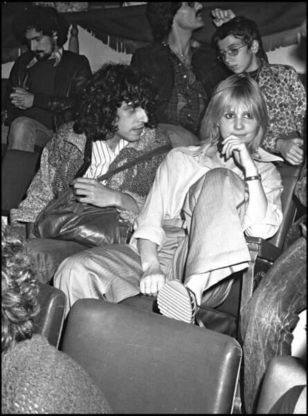 Julien Clerc et Miou-Miou à la première du concert de Maxime Le Forestier en 1976.