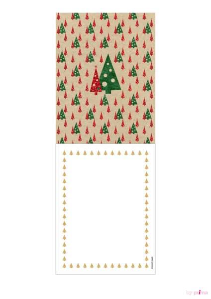 Carte de voeux tradi rouge sapins décorés