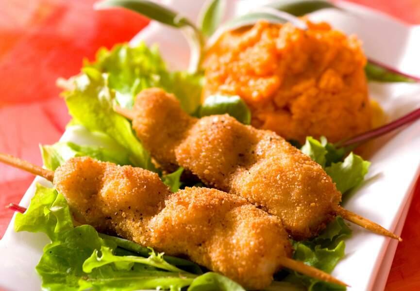 Brochettes de porc et purée orangée