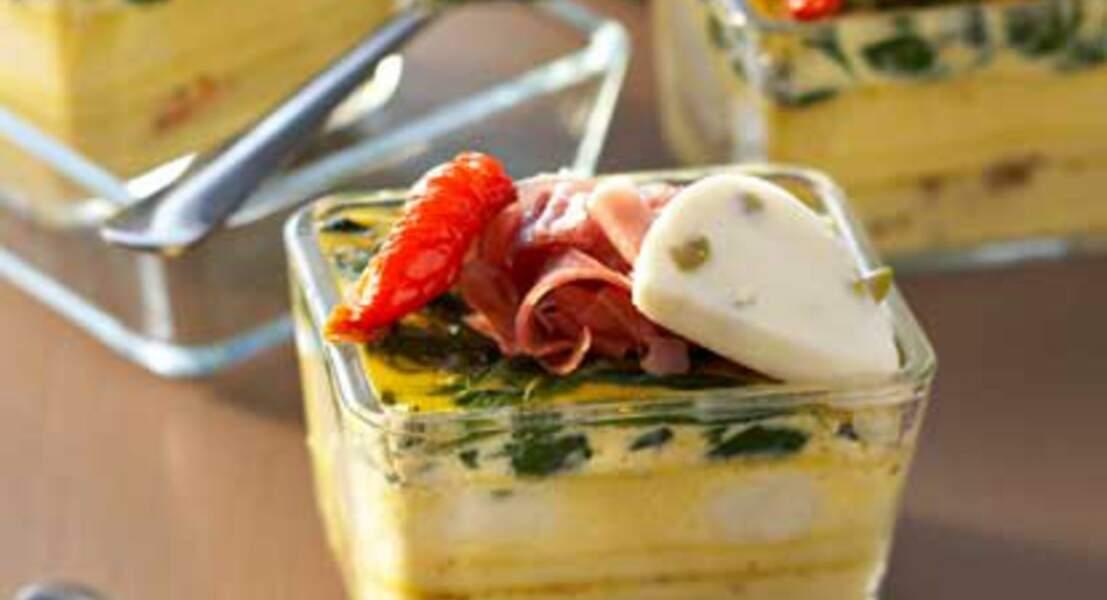 Frittata d'épinards, jambon de Parme et mozzarella olive