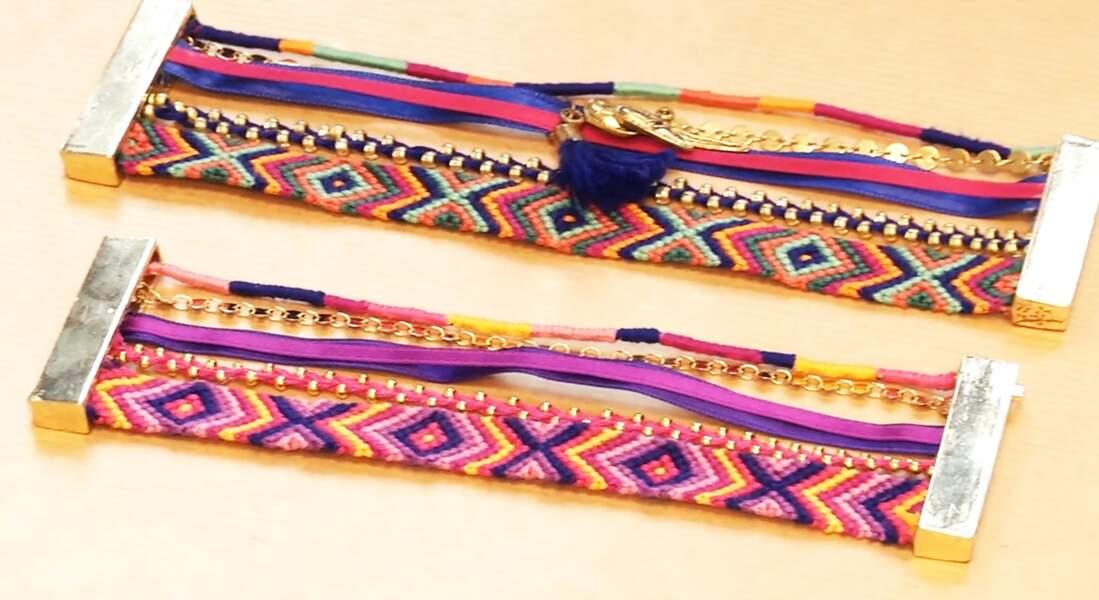 La manchette façon Hipanema à partir de bracelets brésiliens