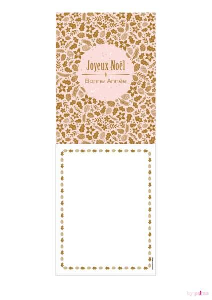 Carte de voeux rose pastel joyeux noël rond