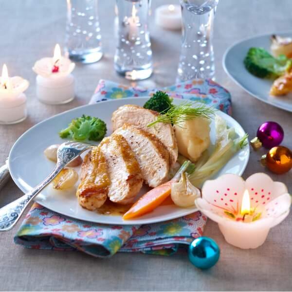 Volaille de Bresse, petits légumes glacés et purée de panais