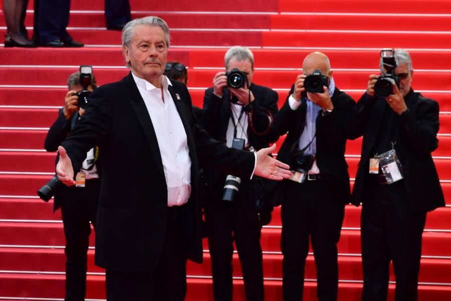 Alain Delon au Festival de Cannes pour recevoir sa Palme d'Or d'honneur, le 19 mai 2019