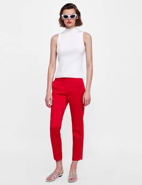 Pantalon : tailleur rouge