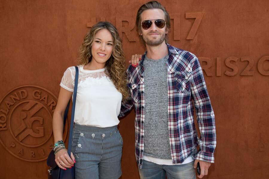 Elodie Fontan et son compagnon Philippe Lacheau au village de Roland Garros le 1er juin 2017.