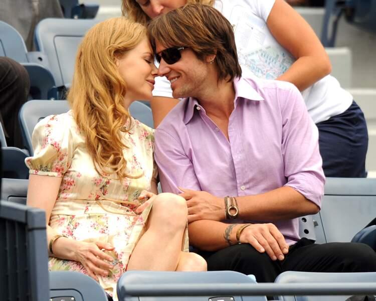 Nicole Kidman et Keith Urban dans les tribunes de l'US Open de tennis en 2009.