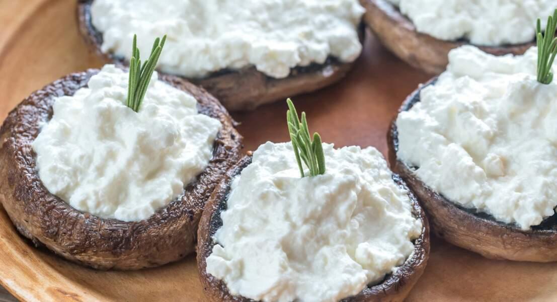Champignons farcis au fromage frais