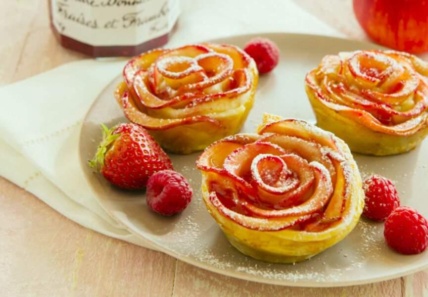 Tartelettes aux pétales de pommes et Confiture de Fraises-Framboises