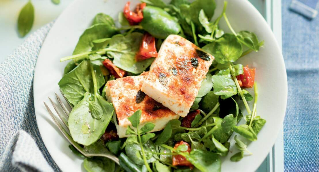 Salade de cresson et feta rôtie