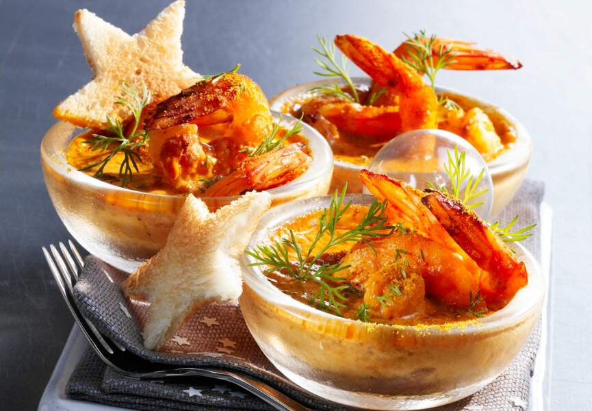 Gratins de gambas au curry