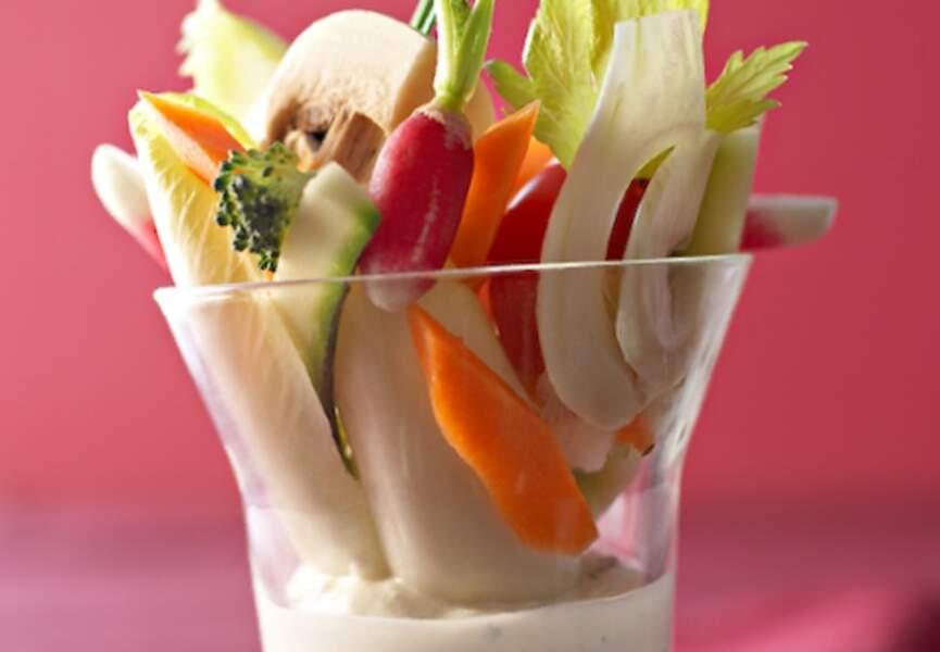 Légumes croquants, ricotta aux herbes fraîches
