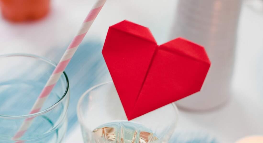 Un love menu en origami