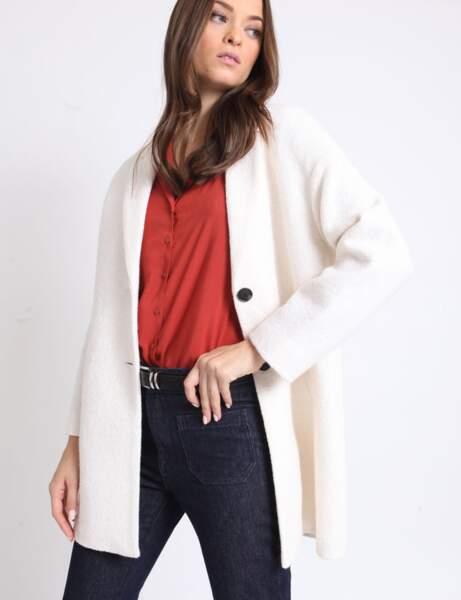 Manteau long avec laine blanc cassé 280229918A09 | Pimkie