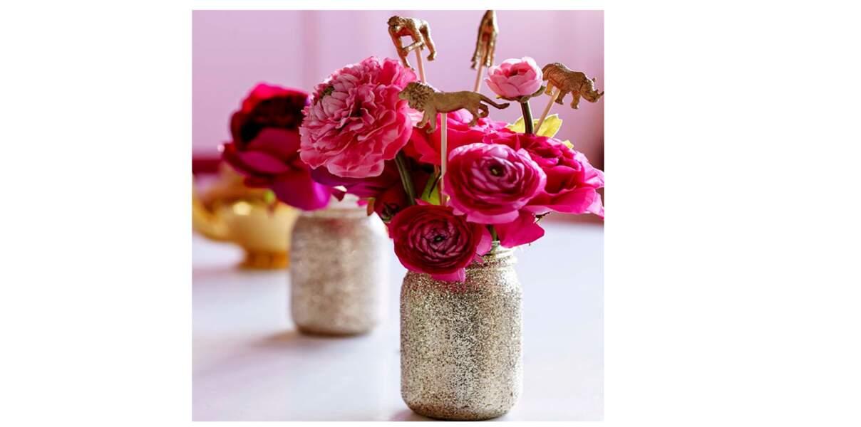 Vases à paillettes DIY