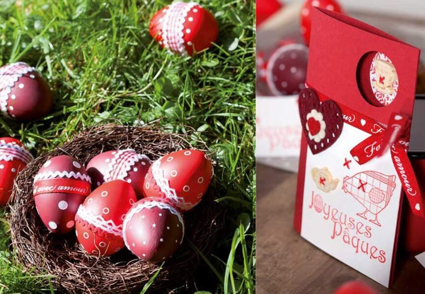 Une carte de Pâques en rouge et blanc