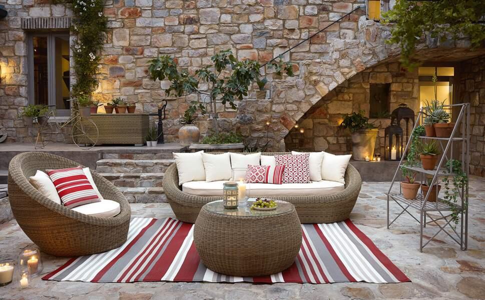 Canapé de jardin 3/4 places en résine tressée