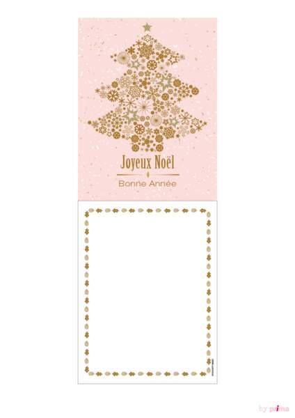 Carte de voeux rose pastel sapin large