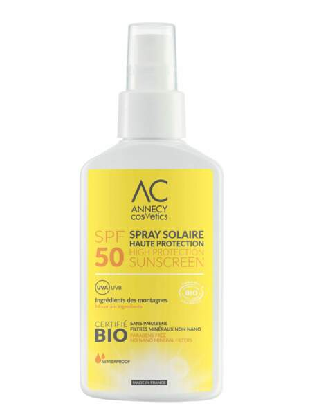 Spray solaire Haute Protection SPF 50, Annecy Cosmetics : pour l'hydratation